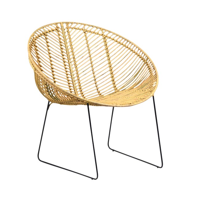 Rattan & Iron Cone Chair - Image 1 of 2