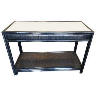 Vintage Glass Top Rattan Console Table