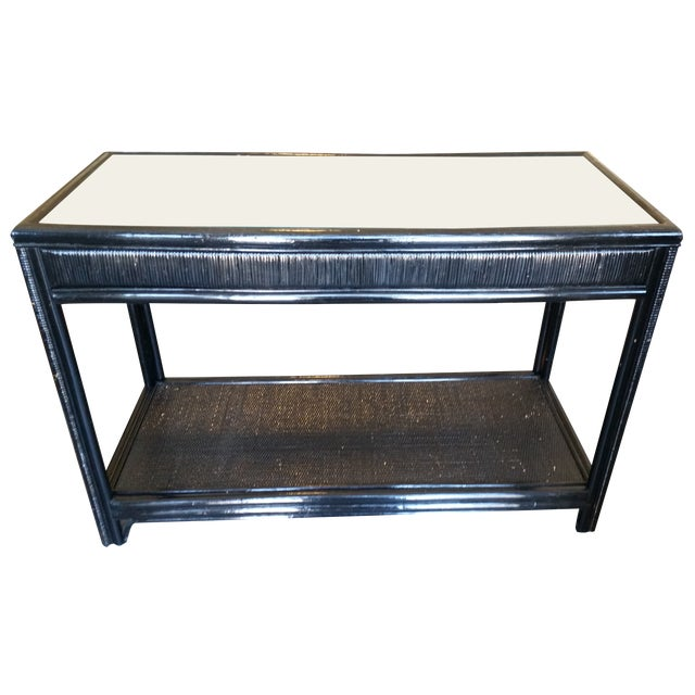 Vintage Glass Top Rattan Console Table - Image 1 of 10