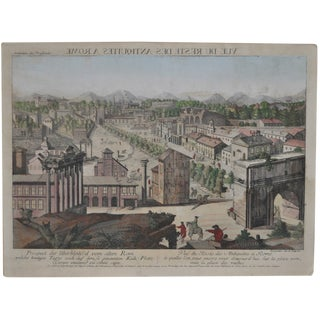 """Antique """"View of Rome"""" Engraving 19th Century"""