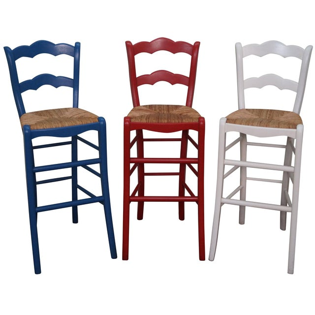 French Country Rush Seat Bar Stools - Set of 3 - Image 1 of 10