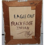 Image of early 20th c. Black Foot Chief Indian oil Painting