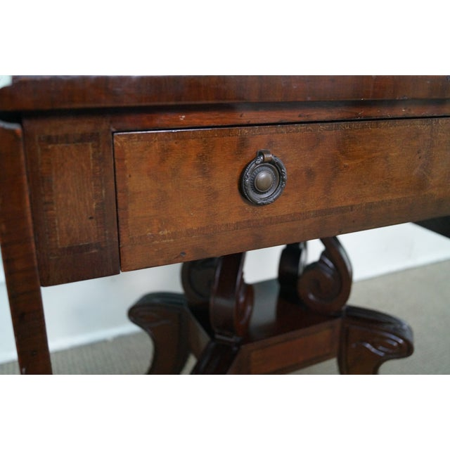 Custom English Regency Style Drop Leaf Side Table - Image 6 of 10