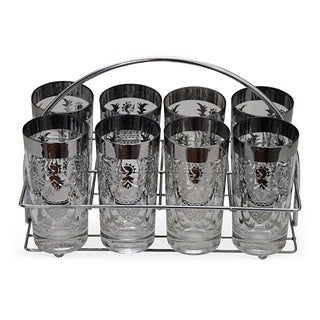 Silver-Crest Glasses & Caddy - 9 Pcs