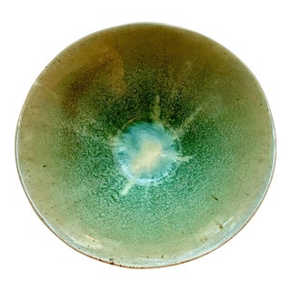Mid-Century Green and Blues Drip Glaze Bowl Signed