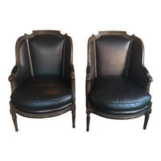Pair of Vintage Wingback Chairs With George Smith Leather