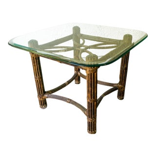 Bamboo Glass Top Side Table