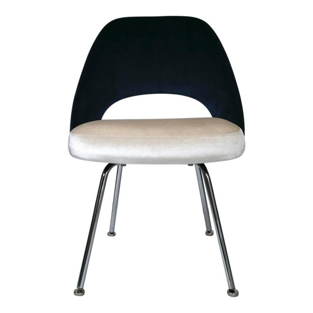 Image of Saarinen Executive Armless Chairs in Ivory/Navy Velvet, Set of Six