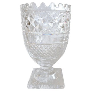 Large Waterford Cut Crystal Footed Vase