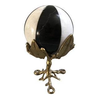 Marble Orb Mounted on Brass Stand