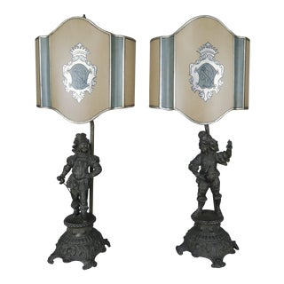 Spanish Figural Lamps W/ Parchment Shades - A Pair