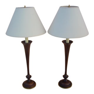 Contemporary Walnut Table Lamps - Pair