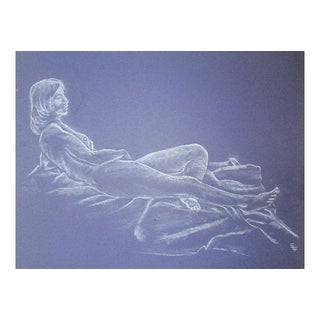 Mid-Century Reclining Nude Pastel Drawing