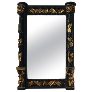 Neoclassical Black & Gold Leaf Mirror