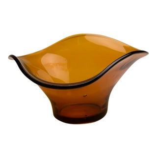 Amber Coloured Poured Glass Bowl, England c.1950