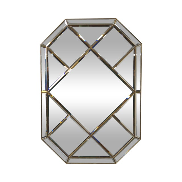 Brass Frame Harlequin Pattern Beveled Glass Mirror - Image 1 of 10