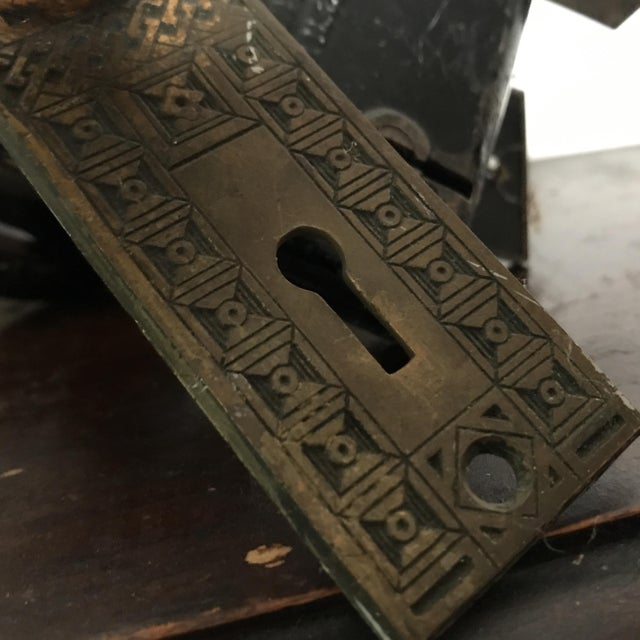 Antique Art Deco Black Porcelain Door Knobs With Door Plates - Image 4 of 11