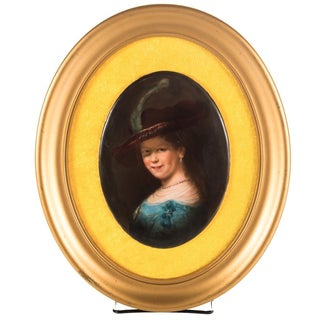 Antique German Woman with Hat Plaque