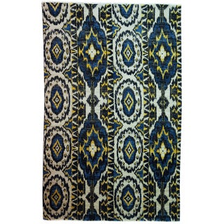 """Ikat, Hand Knotted Area Rug - 6' 0"""" x 9' 4"""""""