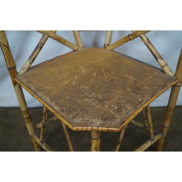 Antique 19th C. Victorian Bamboo Corner Chair - Image 8 of 10