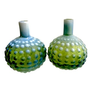 Green & White Opalescent Hobnail Vases - A Pair