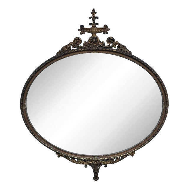 Antique Ornate Gold Oval Mirror - Image 1 of 7