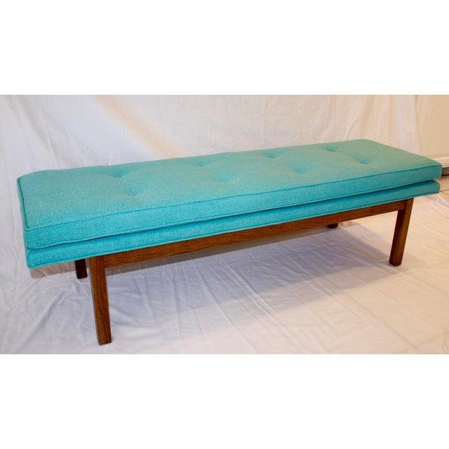 Mid-Century Tufted Turquoise Bench - Image 7 of 8