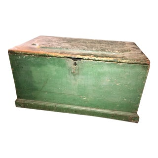 Antique Green Rustic Painted Dovetail Trunk