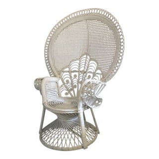 Emmanuelle-Style White Rattan Wicker Scroll Peacock Chair