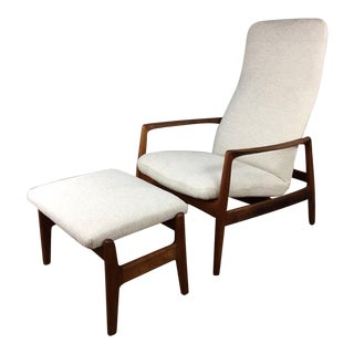 Folke Ohlsson High Back Reclining Lounge Chair and Ottoman