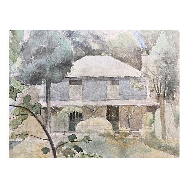 Watercolor English Country Cottage Painting By Franklin White