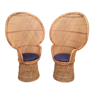 Handmade Bamboo & Rattan High Back Peacock Chair - A Pair