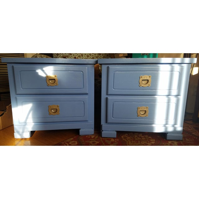 Handpainted Light Blue Nightstands - a Pair - Image 6 of 6