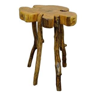 Handmade Robert Powchik Rustic Log Tree Branch Side Table