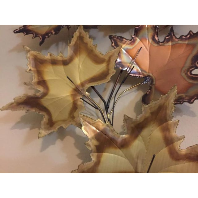 Vintage Jere Style Copper Brass Maple Leaves Metal Wall Art - Image 5 of 6