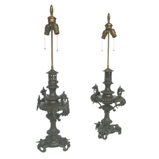 Bronze Meiji-Style Table Lamps - a Pair