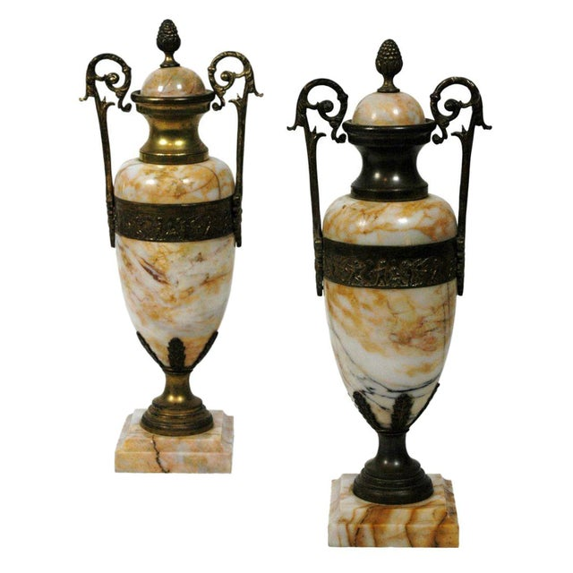 Pink Marble Urns - A Pair - Image 1 of 7