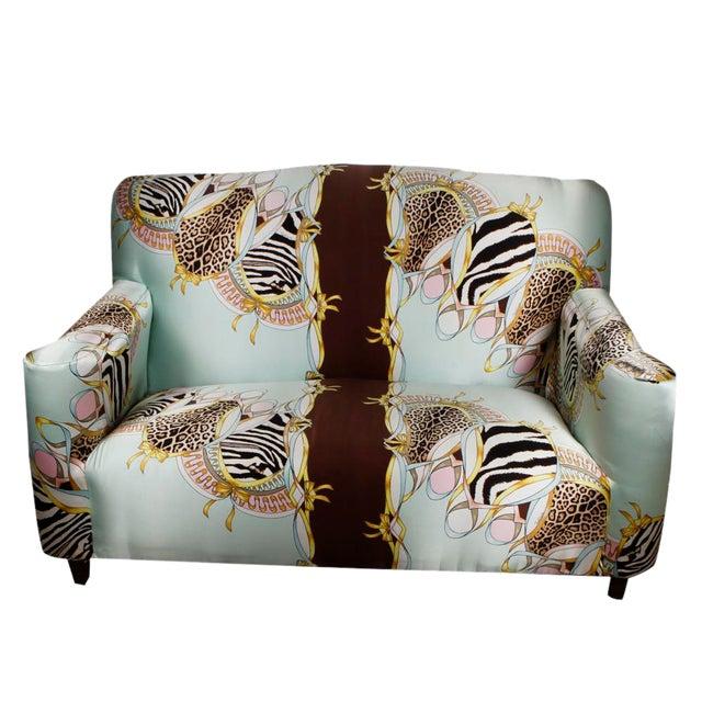 Roberto Cavalli Custom Upholstered Silk Loveseat - Image 1 of 9