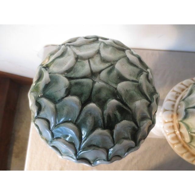 Image of 70's Italian Pair of Ceramic Artichoke Topiaries