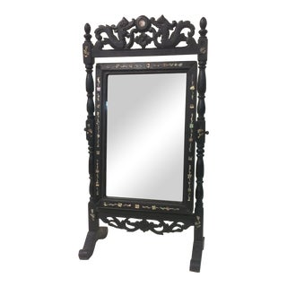 Carved Ebonized & Abalone Mirror