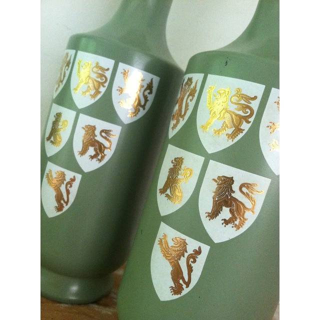 1960s Painted Glass Wine Decanters- A Pair - Image 3 of 6