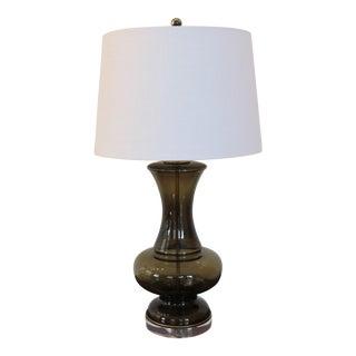 Halston Era Vintage Italian Smoke Grey Glass Lamp