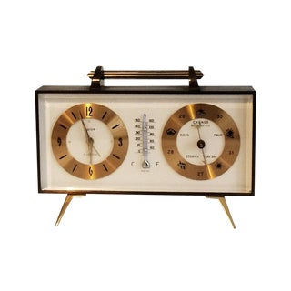 Vintage Brass Swiza Thermometer & Barometer Clock