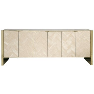 Ello Polished Travertine & Brass Credenza