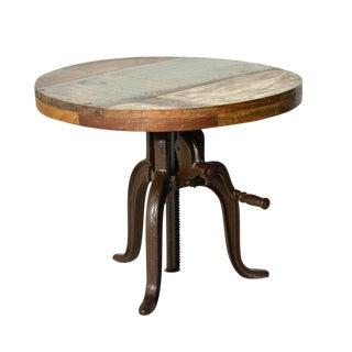 Reclaimed Wood Adjustable Crank Side Table