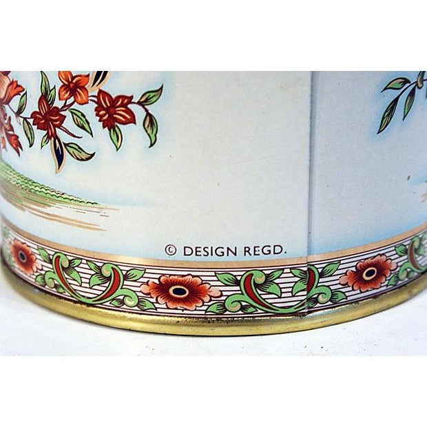 Image of English Floral Tin Lidded Box