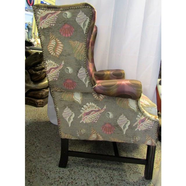 Vintage Chippendale Wingback Chair W/ Cowhide - Image 5 of 8