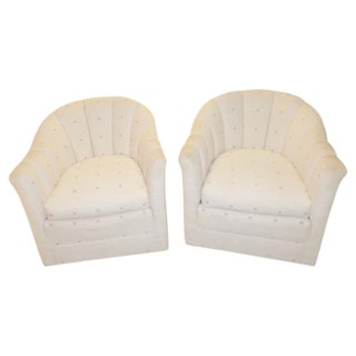 Vintage Channel Back Swivel Chairs - A Pair