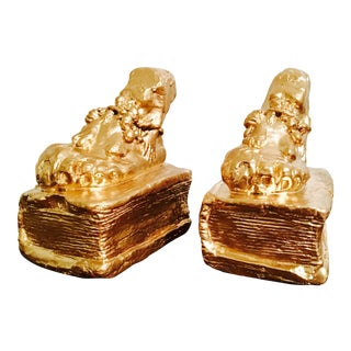Antique Gold Painted Sculpted Bookends