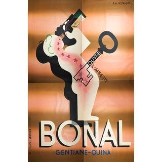 """1933 A.M. Cassandre """"Bonal"""" Quadriptych Serigraph Poster"""